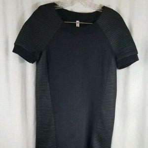 Fabletics Black Brenna Moto Mini Dress S